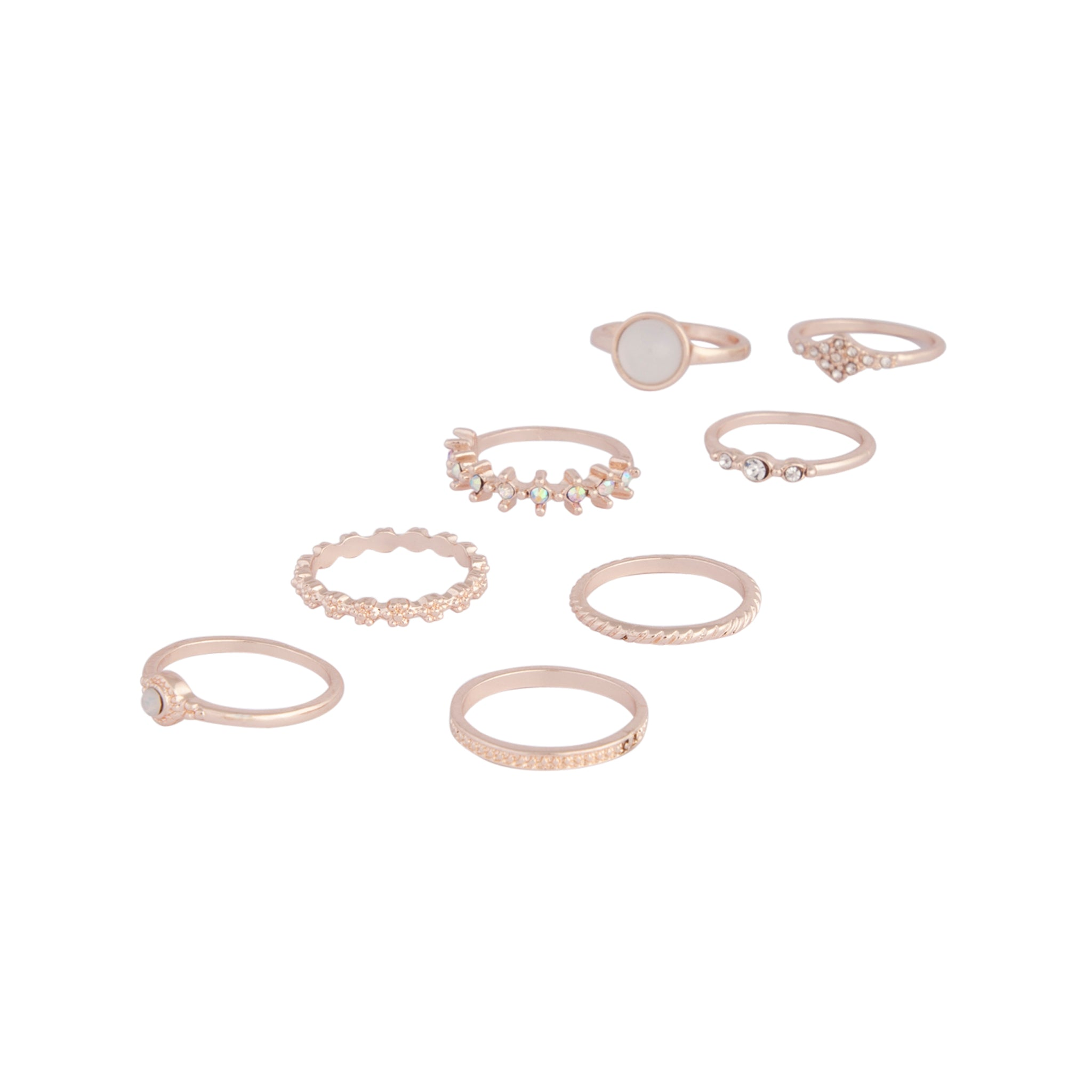 Rose Gold Textured Stone Ring 8 Pack