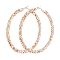 Rose Gold Cup Chain Diamante Large Hoop Earring