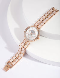Rose Gold Pink Coated Link Watch