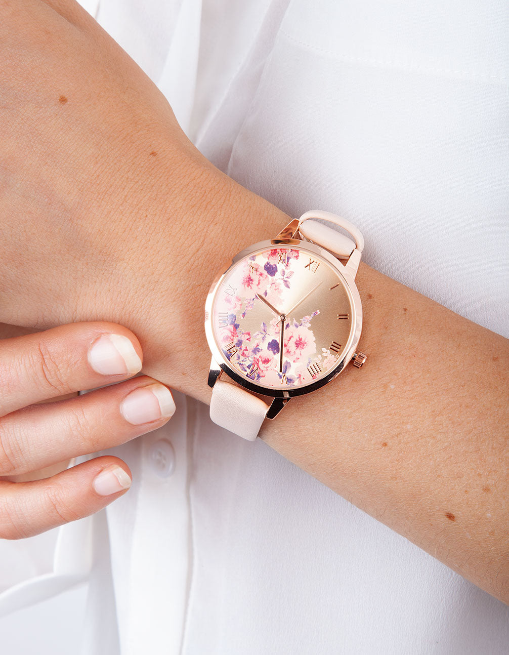 Pink Floral Leatherette Watch