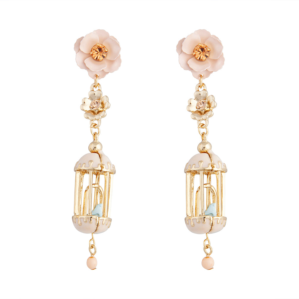 Gold And Pastel Flower Birdcage Earring