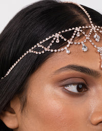 Rose Gold Crystal Jewel Drop Headchain