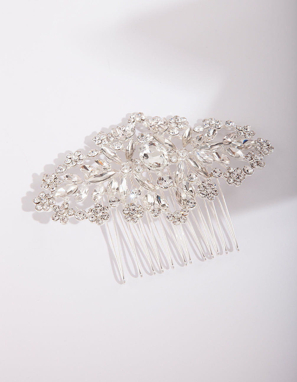 Silver Mixed Crystal Comb