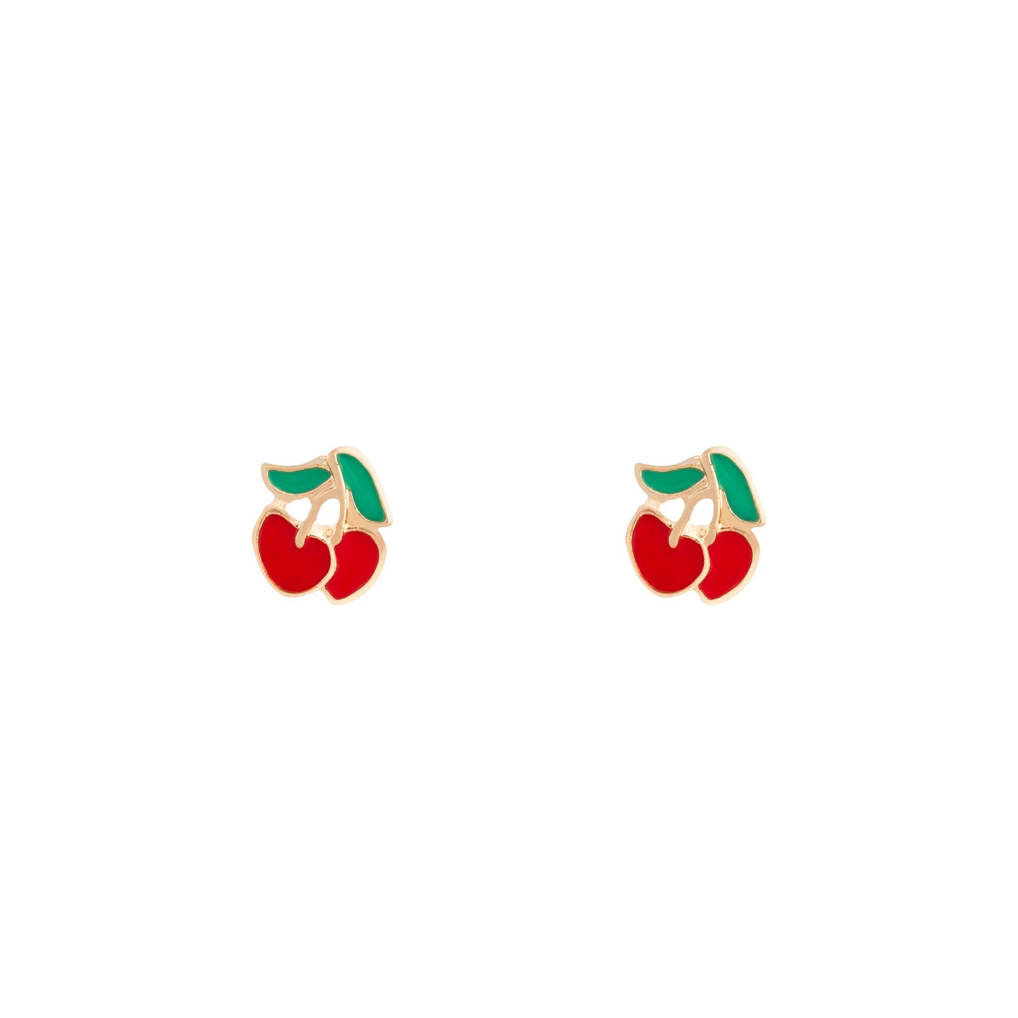 Gold Red Cherry Stud Earring