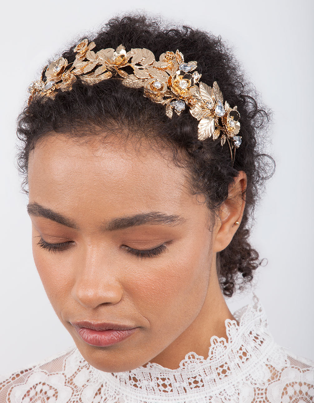 Gold Flower Leaf Pearl Headband