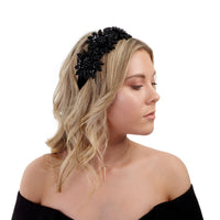 Black Statement Embellished Flower Headband - link has visual effect only