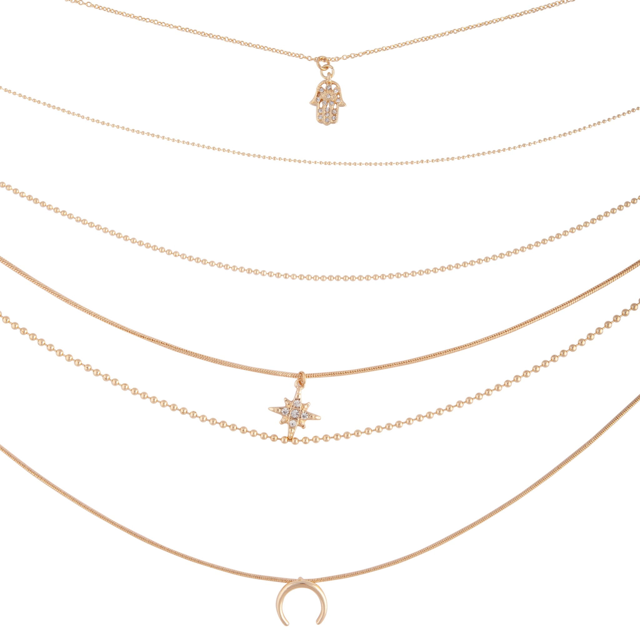 Gold Diamante Star Layered Necklace