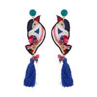 Embroidered Bird Tassel Earring | Earrings | Lovisa Jewellery Australia | Gift Idea Girl