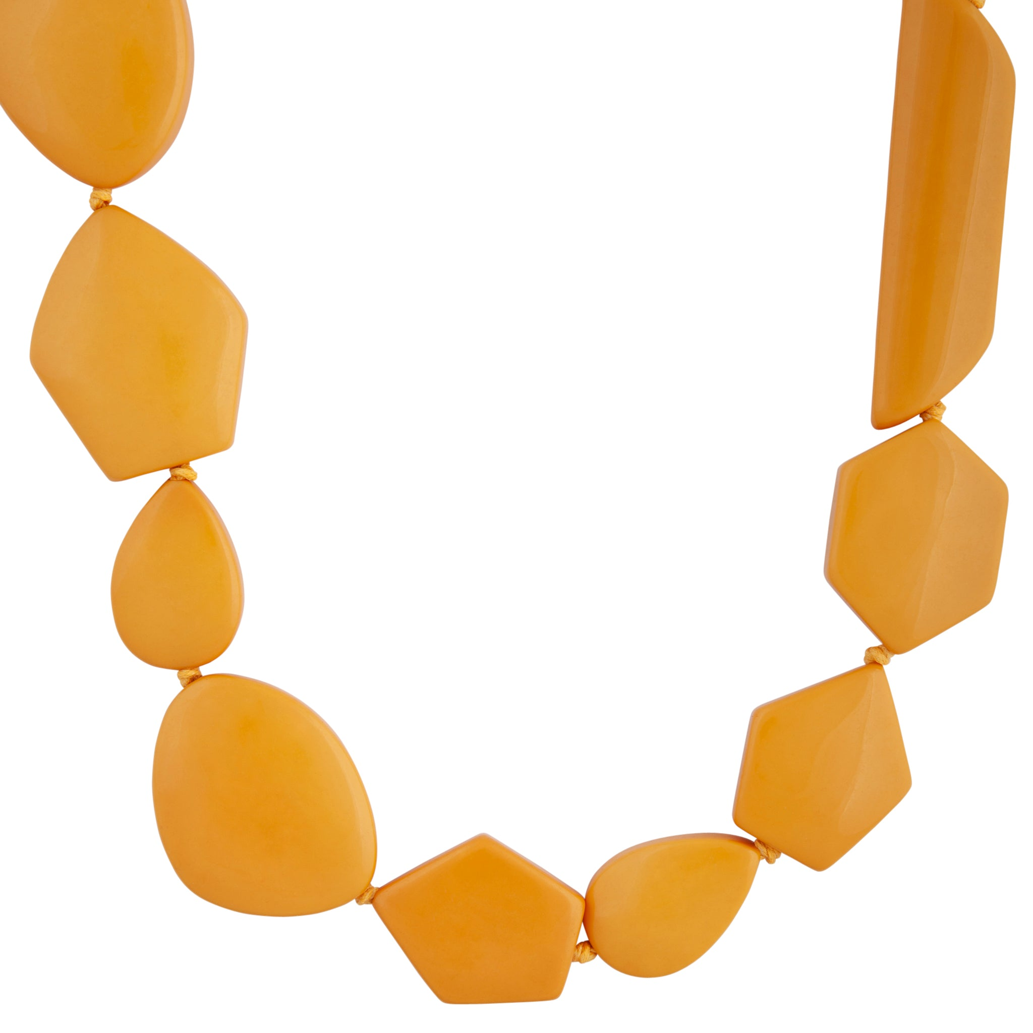 Golden Yellow Acrylic Mixed Long Necklace