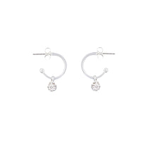 Silver Cubic Zirconia 12mm Hoop Earring - link has visual effect only