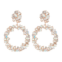 Rose Gold Stone Set Circle Earring - link has visual effect only