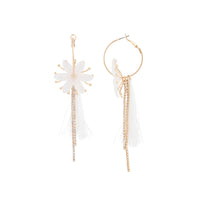 Gold Acrylic Flower Cup Chain Hoop Earring