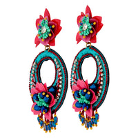 Green Pink Flower Sequins Earring - link has visual effect only