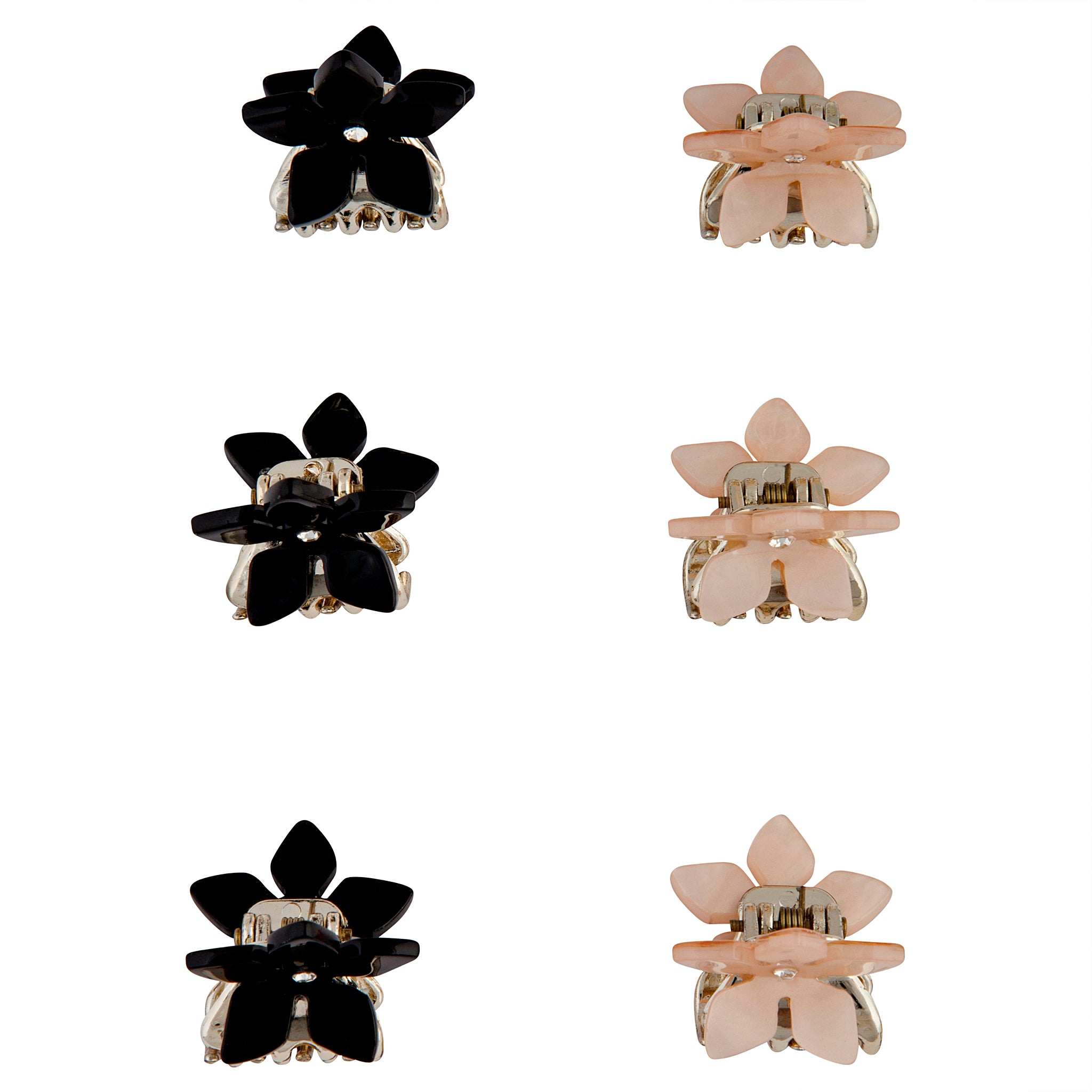 Pink Black Flower Claw Clip 4 Pack