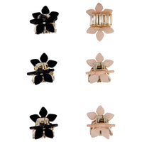 Pink Black Flower Claw Clip 4 Pack - link has visual effect only