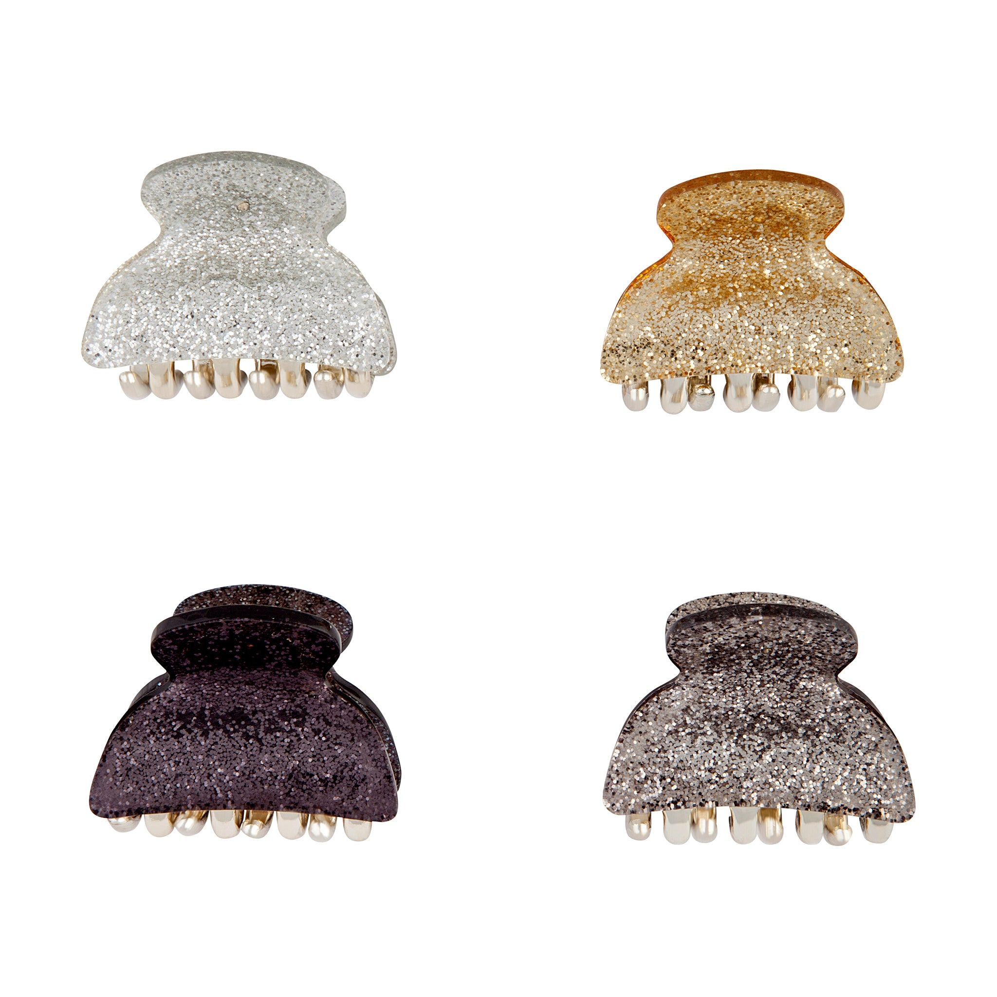 Silver Black Gold Claw Clip 4 Pack