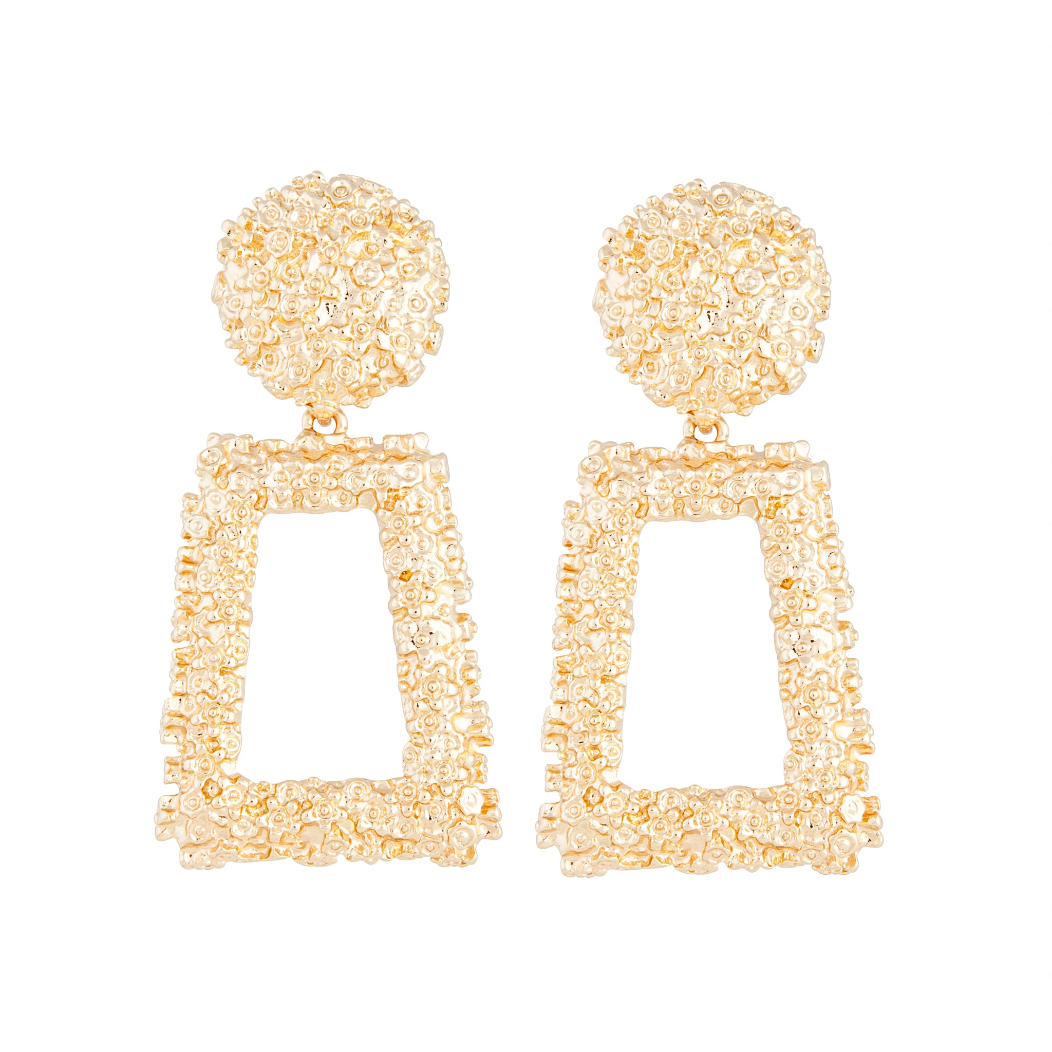 Gold Textured Geometric Drop Earring