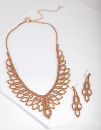 Brown Gold Diamante Earring Necklace Set - link has visual effect only