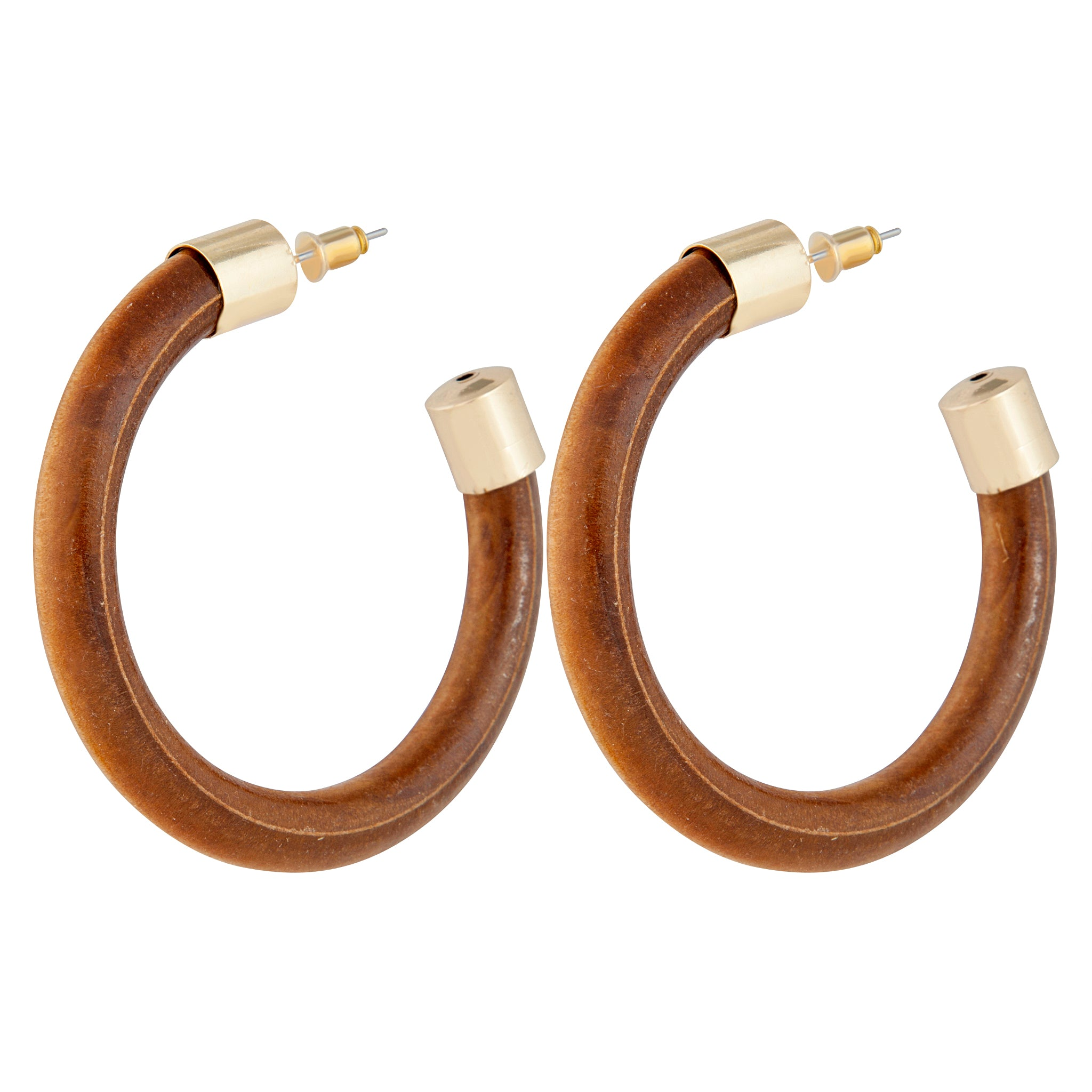 Gold Metal Cap Wooden Hoop Earring