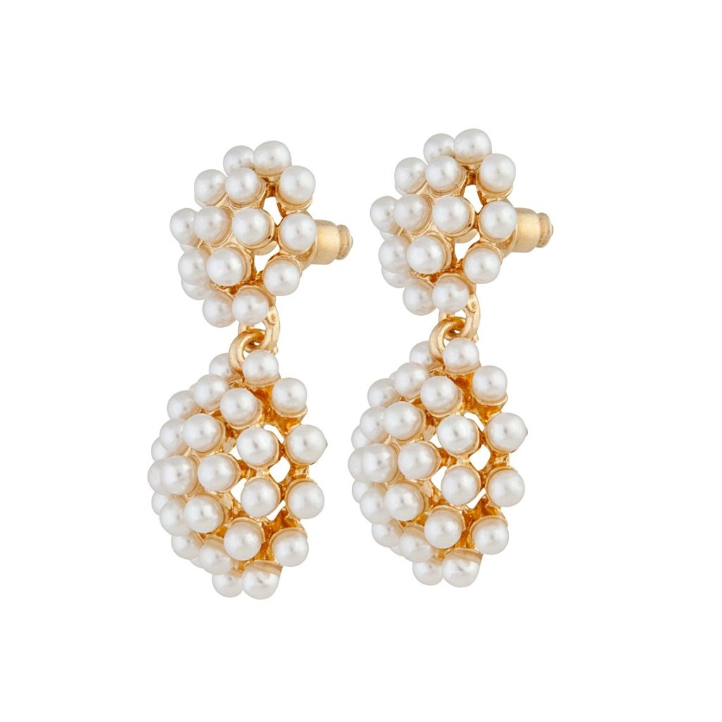 Gold Pearl Multi Ball Earring