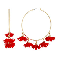 Red Gold Large Flower Hoop Earring - link has visual effect only