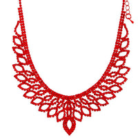 Red Diamante Cup Chain Necklace Earring Set