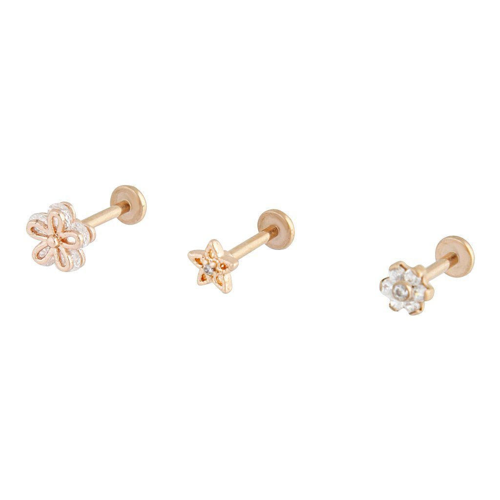 Rose Gold Cubic Zirconia Flower Flat Back 3 Pack