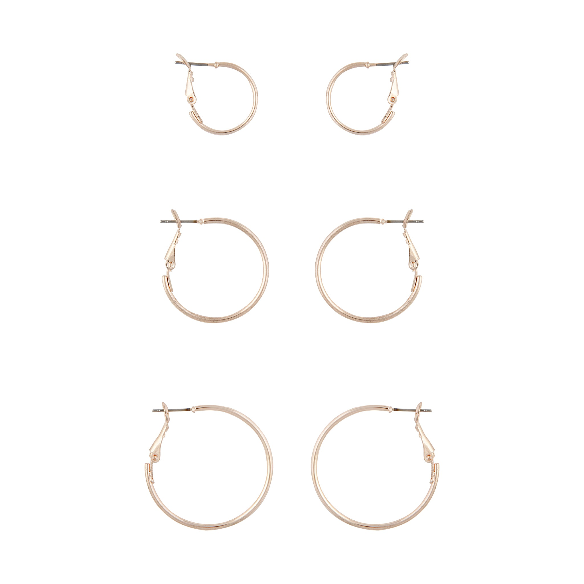 Rose Gold Sleeper Hoop Earring 3 Pack