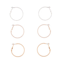 Mixed Metal Textured Hoop Earring Trio