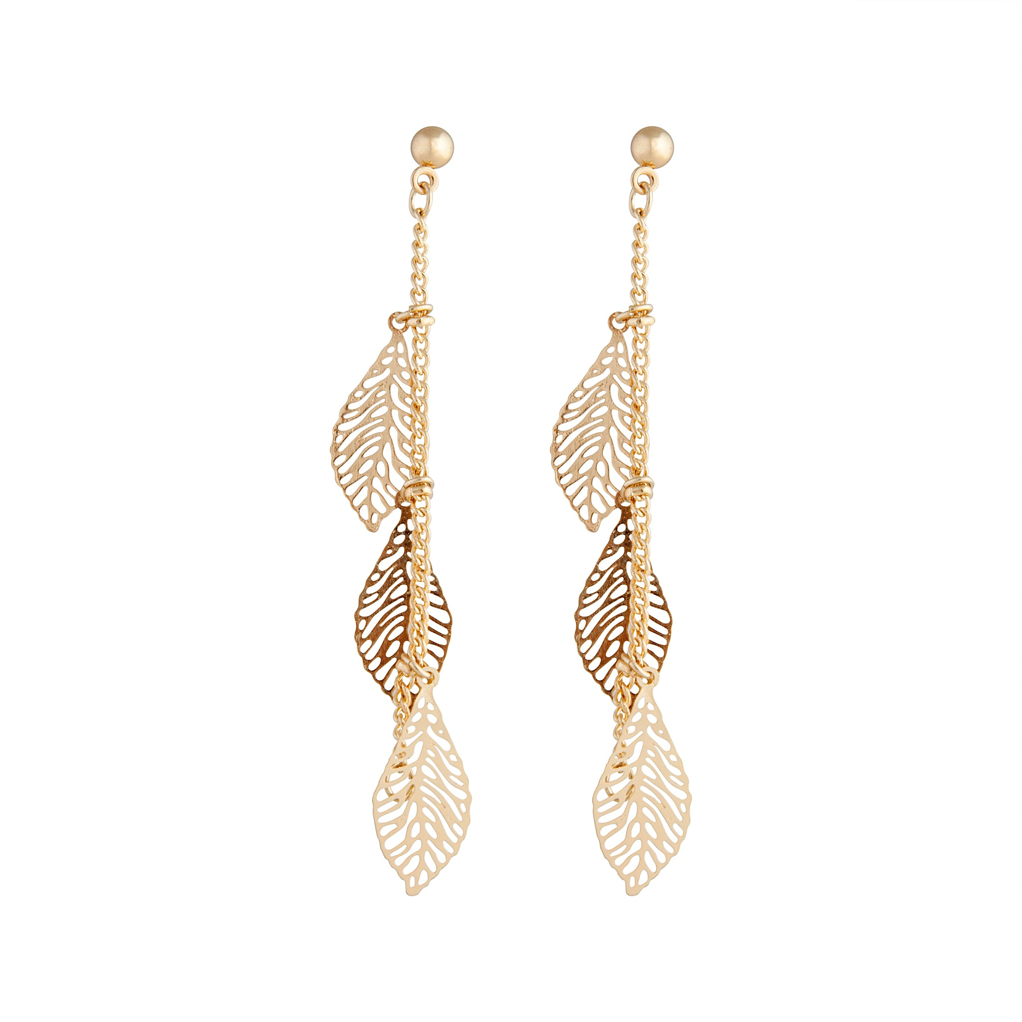Gold Drop Filigree Leaf Earring