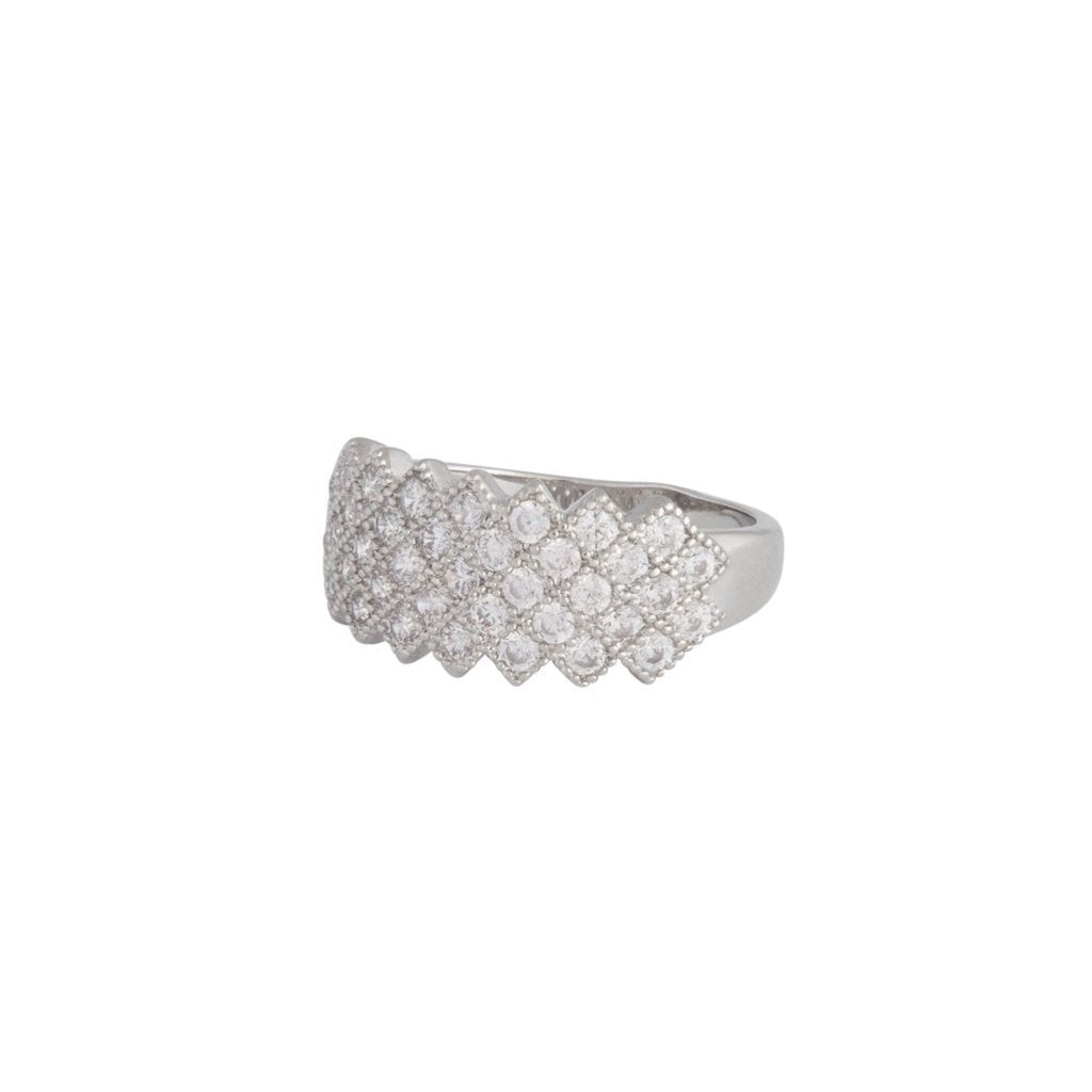 Rhodium Cubic Zirconia Lattice Ring