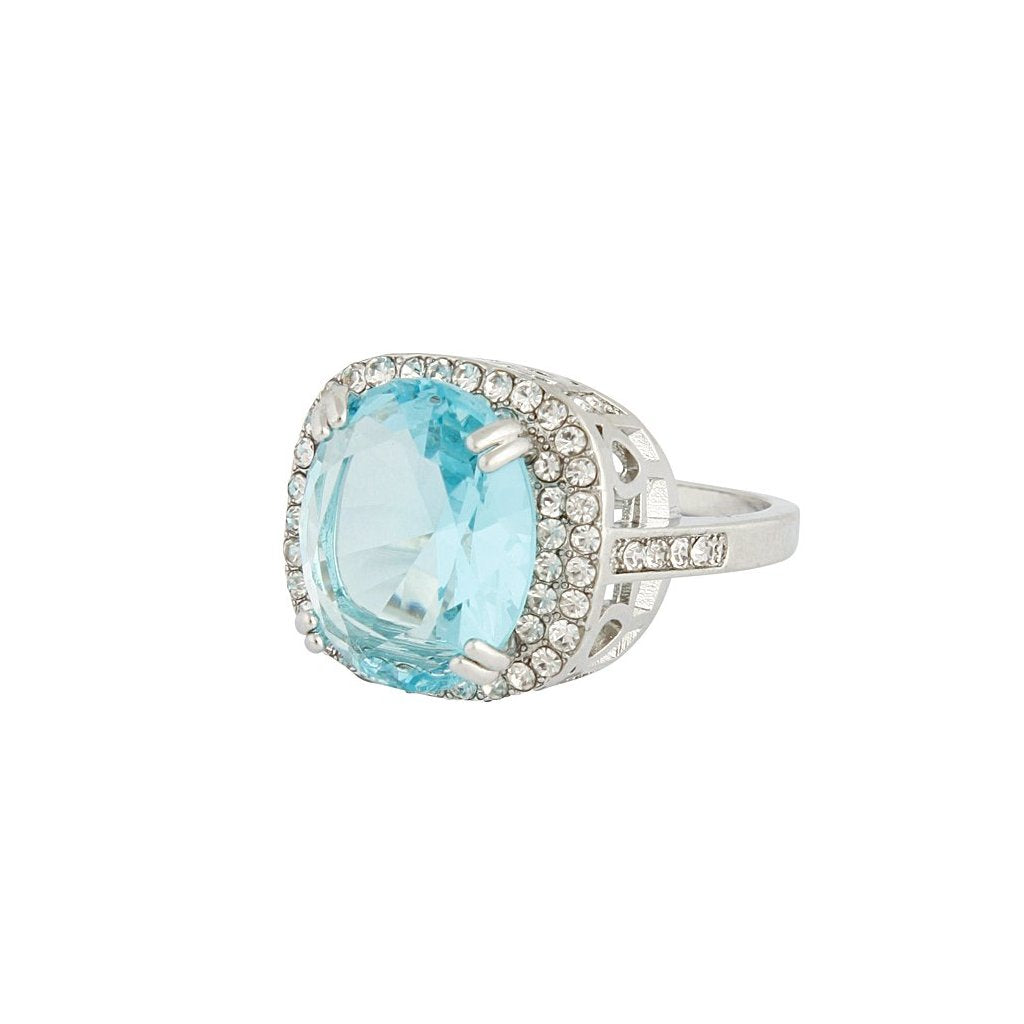Rhodium Blue Cubic Zirconia Square Ring