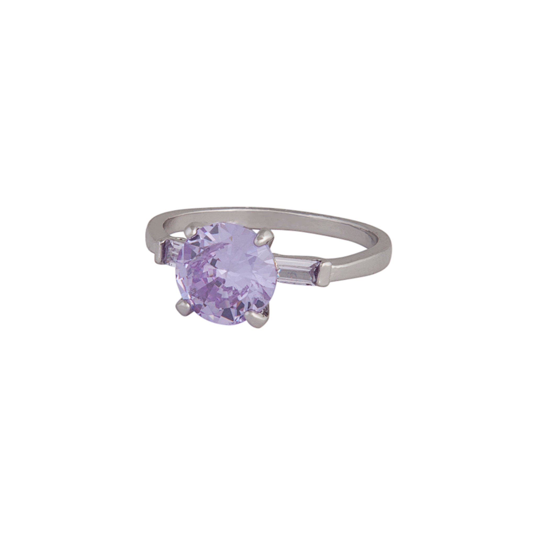 Rhodium Round Stone Purple Cubic Zirconia Ring