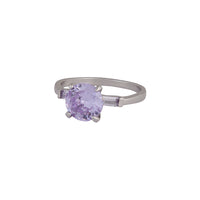 Rhodium Round Stone Purple Cubic Zirconia Ring - link has visual effect only