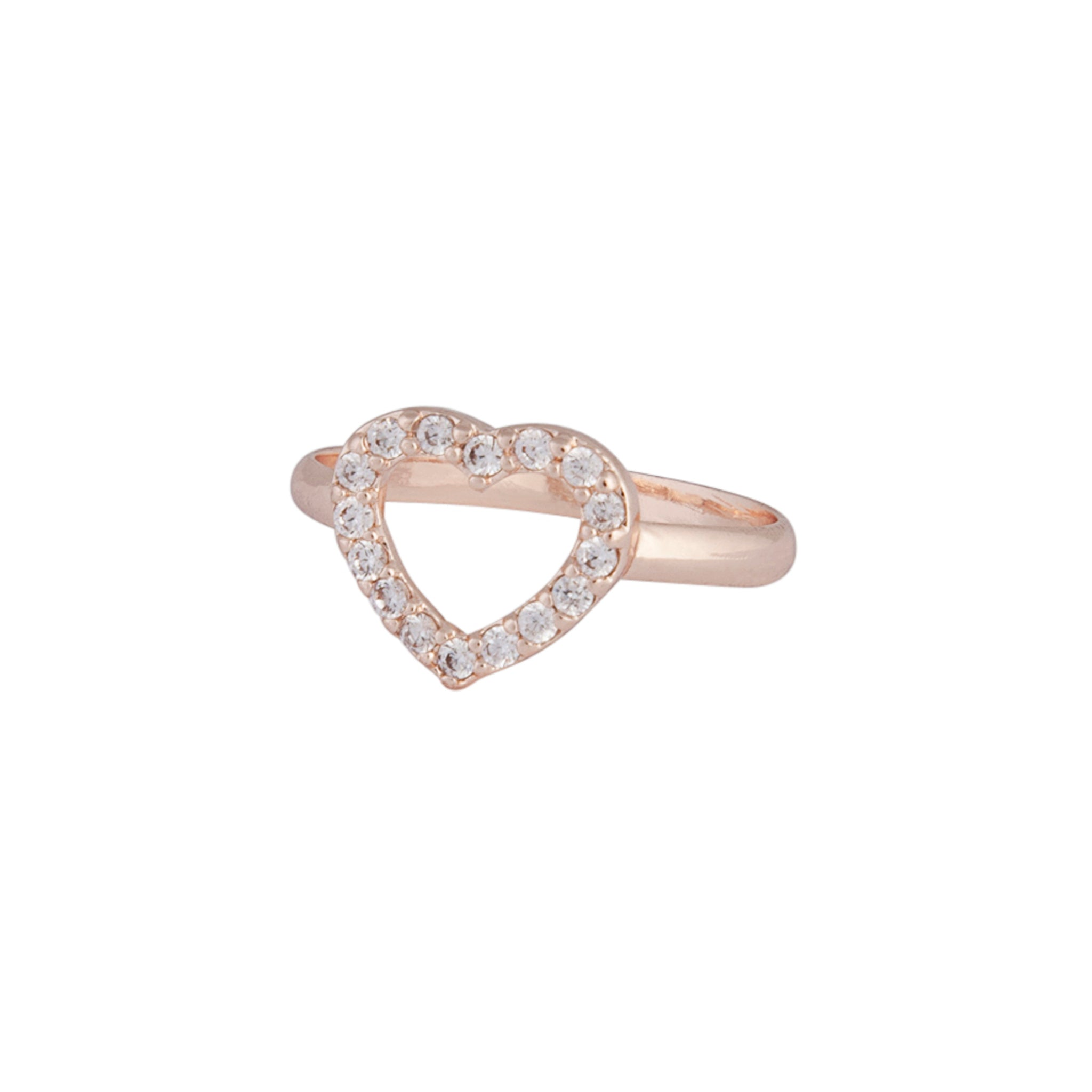 Rose Gold Cubic Zirconia Open Heart Ring