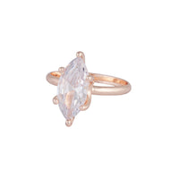 Rose Gold Cubic Zirconia Navette Stone Ring - link has visual effect only