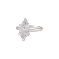 Silver Cubic Zirconia Navette Stone Ring - link has visual effect only