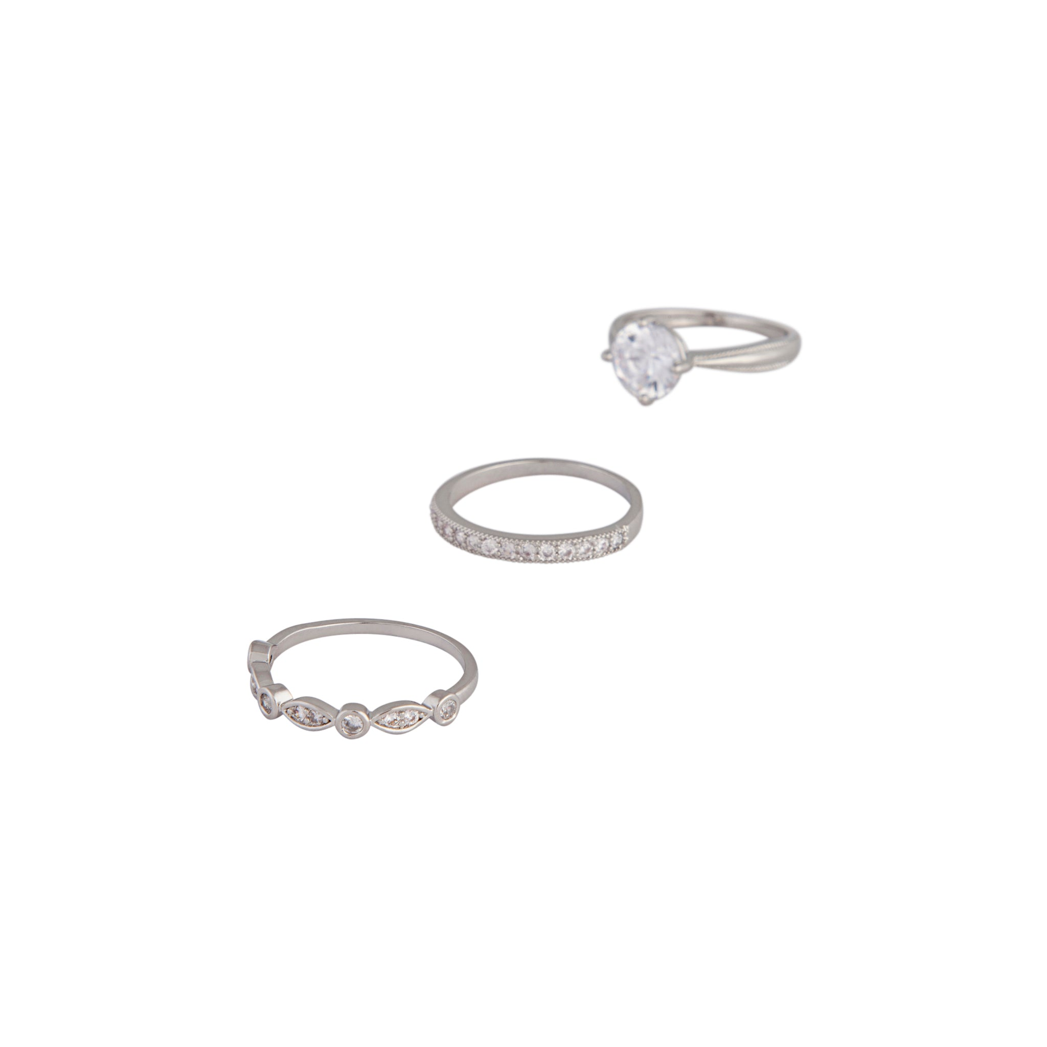 Rhodium Round Stone Cubic Zirconia Triple Ring Stack