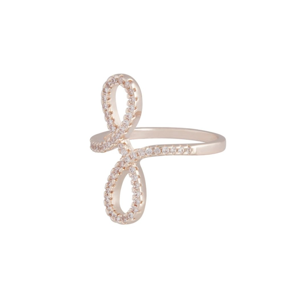 Rose Gold Cubic Zirconia Double Loop Ring