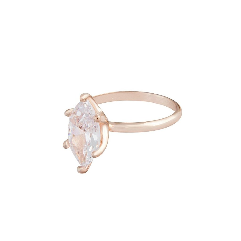 Rose Gold Cubic Zirconia Navette Stone Ring