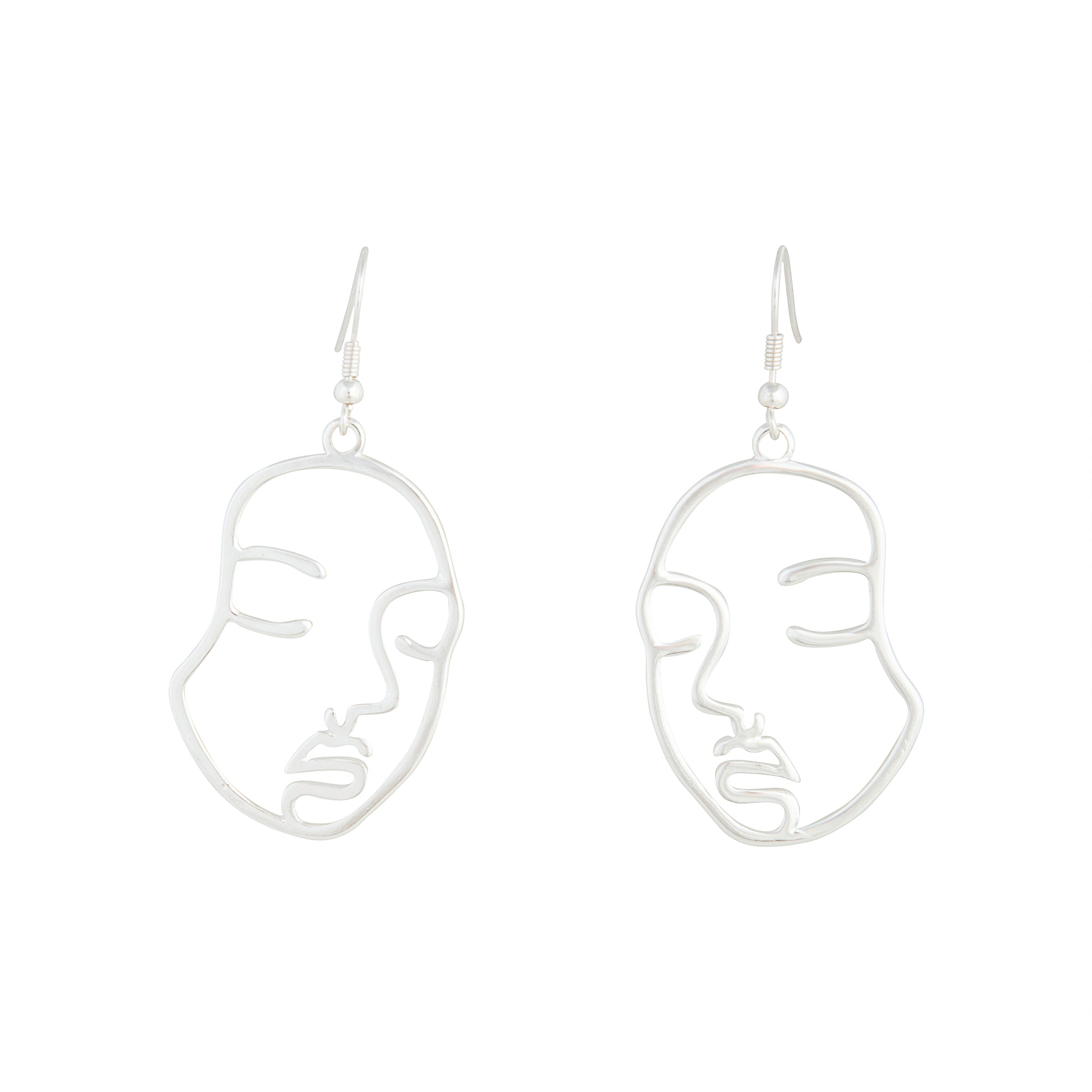 Silver Small Face Earring