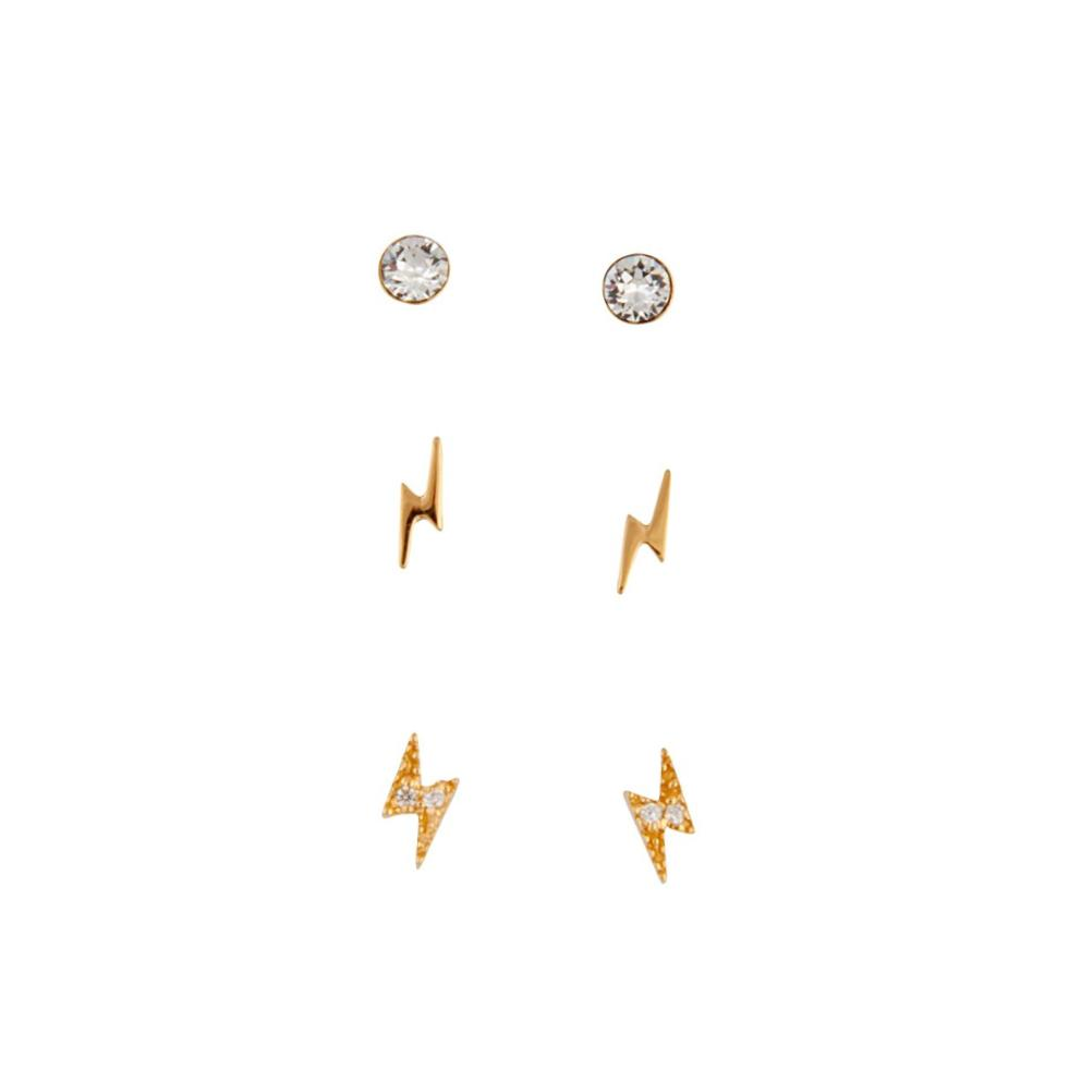 Gold Plated Sterling Silver Lightning Earring 3 Pack