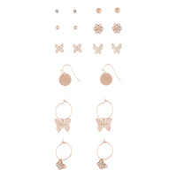 Rose Gold Butterfly Stud And Sleeper Earring Pack