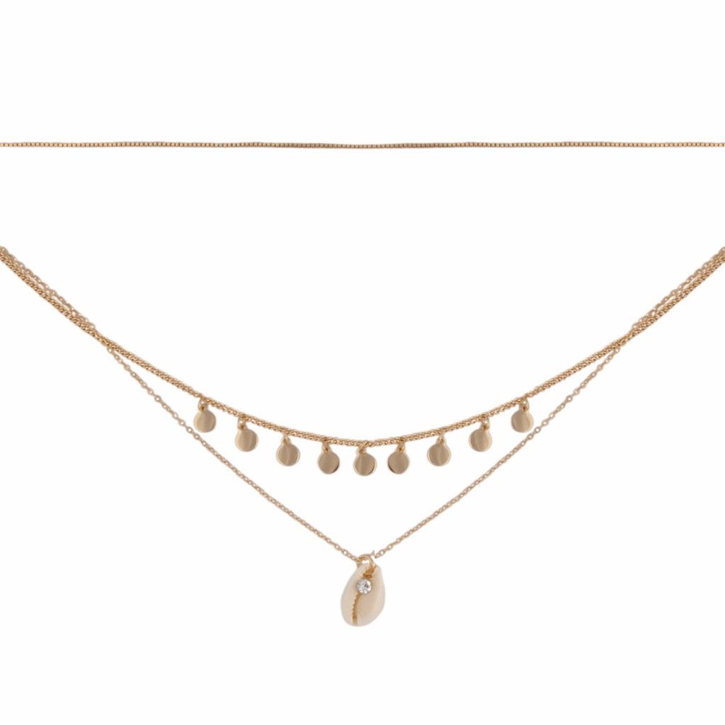 Gold Triple Layer Shell Choker Necklace