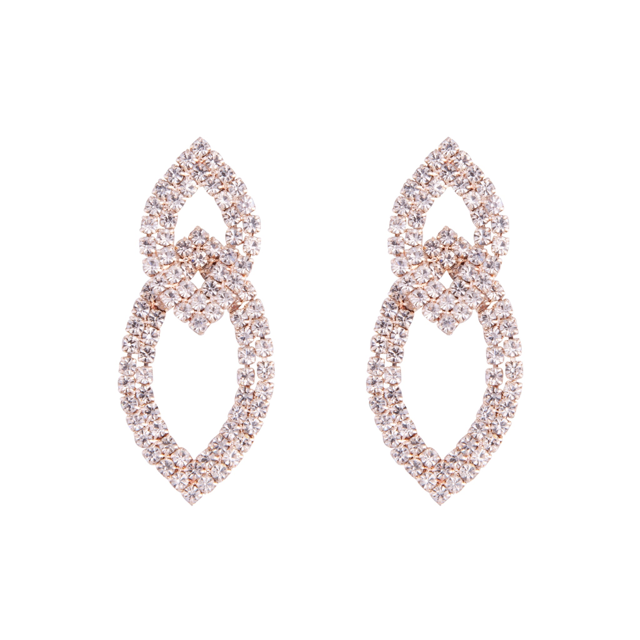 Rose Gold Cup Chain Double Leaf Earring