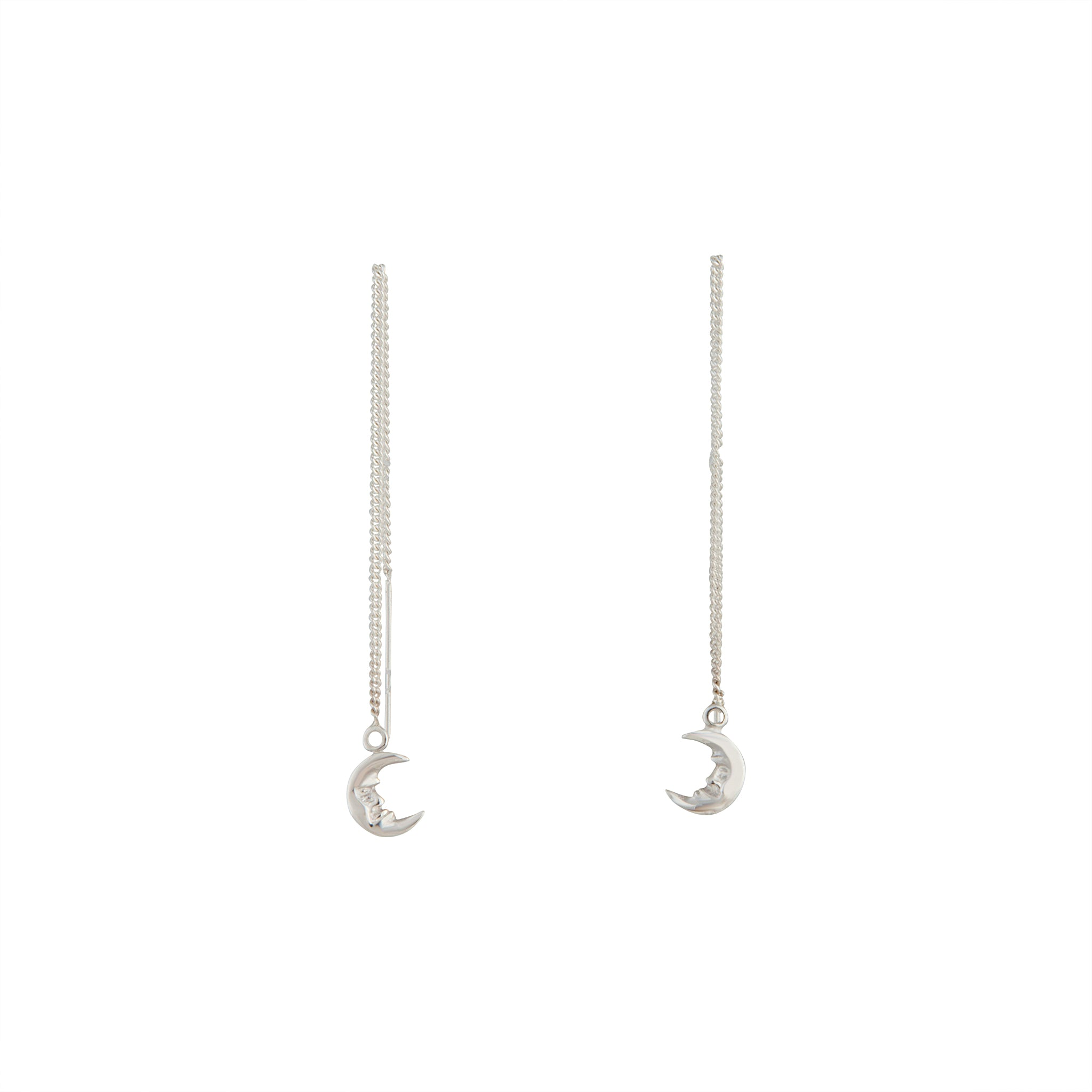 Sterling Silver Moon Thread-Through Earring