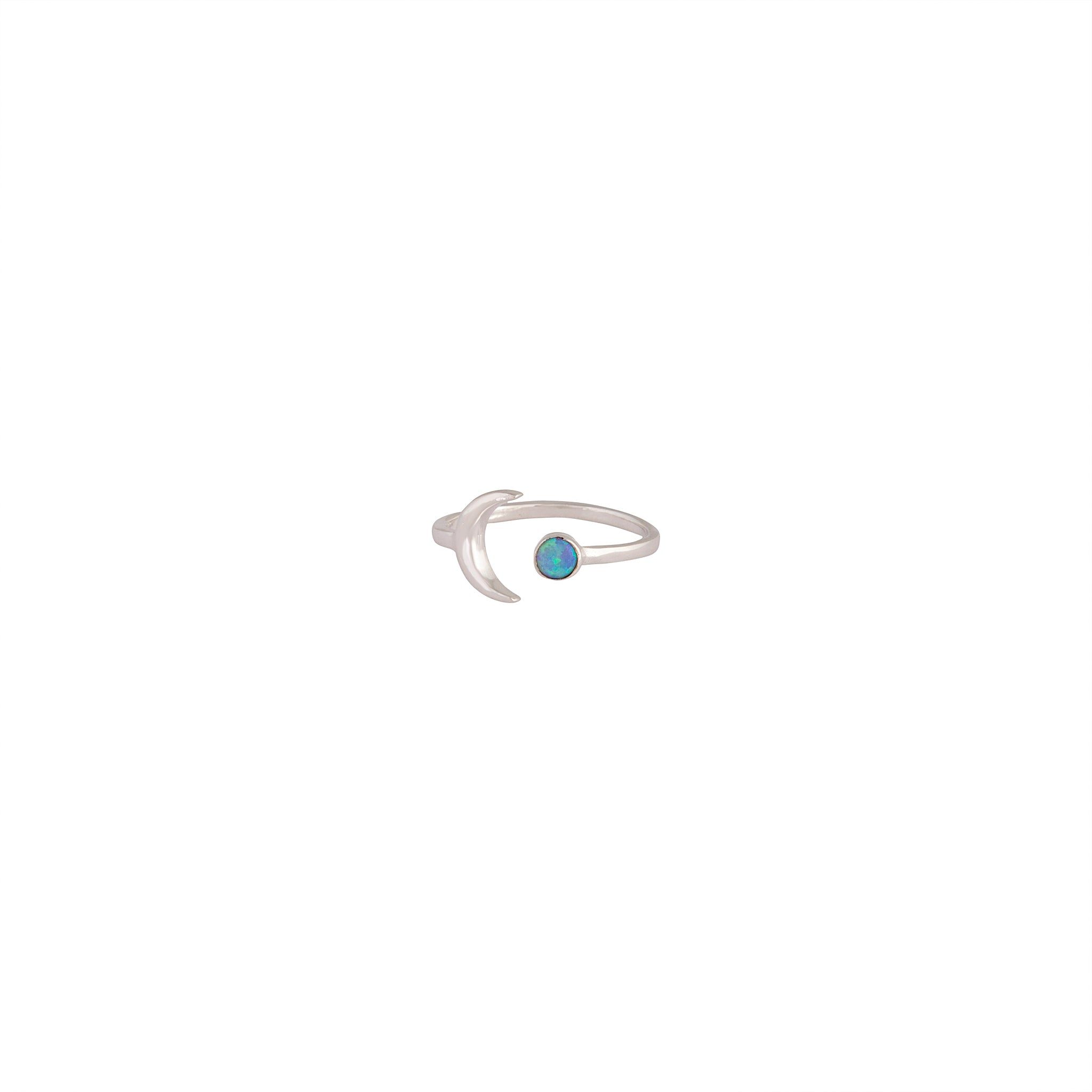 Sterling Silver Moon Synthetic Opal Open Ring