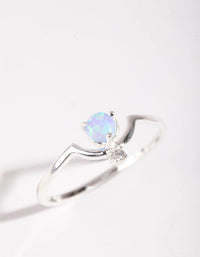 Sterling Silver Bohemian Synthetic Opal Ring - link has visual effect only