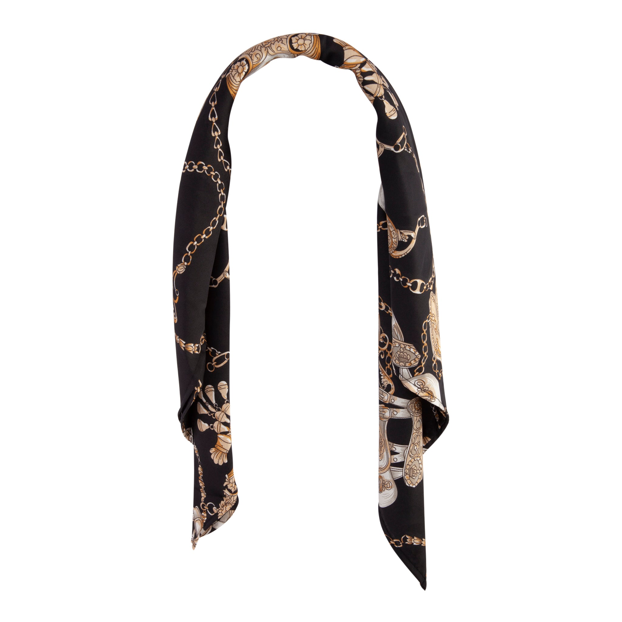 Black Gold Square Gold Chain Scarf