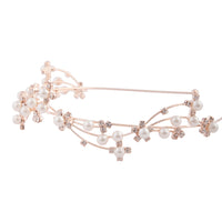 Rose Gold Wire Pearl Crystal Headband - link has visual effect only